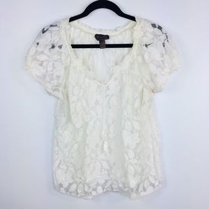 Nordstrom Sheer Lace Top by Trulli Size LP